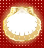 Gold frame made of pearl shells. Vector background Royalty Free Stock Photos