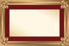 Gold frame with maroon passport for a photo or a d Royalty Free Stock Images