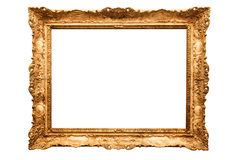 Gold frame. Old antique gold frame over white background Stock Image