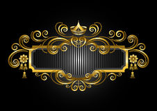 Gold frame in the old style with crown and candelabras Royalty Free Stock Photos