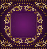 Gold Frame On Purple Background Royalty Free Stock Images