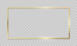 Gold Frame On Transparent Background. Vector Realistic Isolated Golden Shiny Border Frame Royalty Free Stock Image
