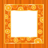 Gold frame with oranges. Gold an orange frame with oranges on striped wallpaper with copy space stock illustration