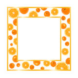 Gold frame with oranges. Isolated on white stock illustration