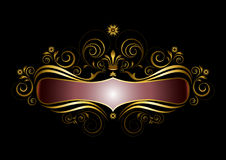 Gold frame original form with the crown in the old style Royalty Free Stock Photos