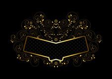 Gold frame with ornament in gold openwork floral framing Royalty Free Stock Images