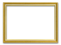Gold frame for painting or picture on white background. Gold frame photo isolated Stock Photo