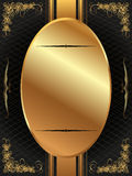 Gold frame with pattern 12. Gold frame with a dark pattern and plant elements Stock Photos