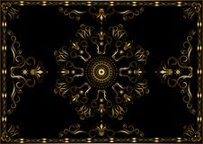 Gold frame from patterns with twisted  calligraphy stripes and crowns on black background vector illustration