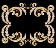 Gold frame with pearls Royalty Free Stock Images