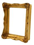 Gold frame from perspective. Close-up of old gilded frame from perspective isolated on pure white background Royalty Free Stock Images