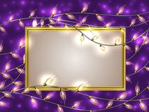 Gold frame with place for text surrounded by Colorful Glowing Christmas Lights. Royalty Free Stock Images