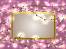 Gold frame with place for text surrounded by Colorful Glowing Christmas Lights. Royalty Free Stock Image