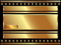 Gold frame with plate and plant elements 2 Stock Image