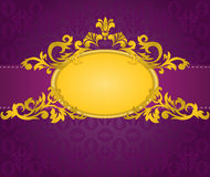 Gold frame on purple background Royalty Free Stock Photos