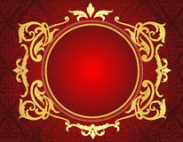 Gold frame on red damask pattern background Stock Image