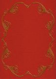 Gold frame on red felt invitation Royalty Free Stock Image