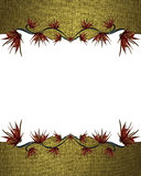 Gold frame with red flowers. Element for design. Template for design. copy space for ad brochure or announcement invitation, abstr Stock Photography
