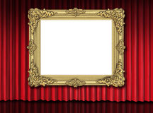 Gold frame on red velvet curtain Stock Photo