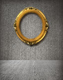 Gold frame in room. With concrete wall royalty free stock image