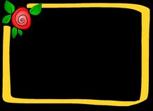Gold frame with a rose. Illustration of an irregular gold frame on a black background with a rose bud in one corner Stock Photography