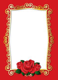 Gold frame with roses. Gold frame with red roses for Valentine Day Royalty Free Stock Photos