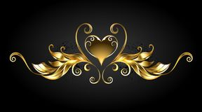 Gold frame scroll with heart vector illustration