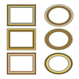 Gold frame set pattern Royalty Free Stock Photos