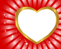 Gold frame in the shape of heart. Stock Image
