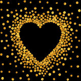 Gold frame in the shape of heart. Stock Photo