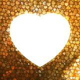 Gold frame in the shape of heart. EPS 8 Royalty Free Stock Photo
