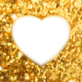 Gold frame in the shape of heart. EPS 8 Stock Photo