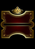 Gold frame with shiny burgundy background with a gold crown Royalty Free Stock Photos