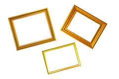 Gold Frame. Three gold frame on white background Royalty Free Stock Photo