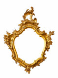 Gold frame unusual shape. Isolated over white background Royalty Free Stock Images