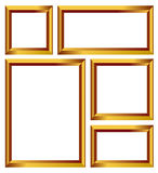 Gold frame vector. Set of gold vector frames, golden borders  on white background with clipping path Stock Images