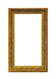 Gold Frame. Vertical Golden Frame Isolated Included Clipping Path stock images