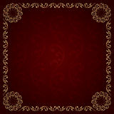 Gold frame with vintage floral elements. Vector background Stock Photography