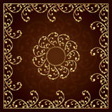 Gold frame with vintage floral elements. Vector background Royalty Free Stock Photo