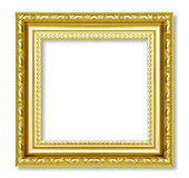 Gold frame on the white background Royalty Free Stock Photo