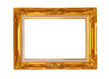 gold frame on the white background with clipping path Royalty Free Stock Images