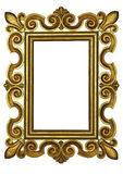 Gold frame on a white background. Wooden gold frame on a white background Stock Photo