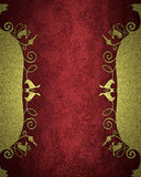 Gold Frame With Patterns Of Flowers On Red Background. Element For Design. Template For Design. Copy Space For Ad Brochure Or Anno Royalty Free Stock Photo