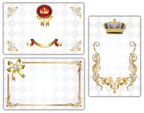 Gold-framed background. Gold-framed labels and background on different topics Royalty Free Stock Photo