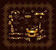Gold-framed calligraphic decorative elements for luxury design Royalty Free Stock Image