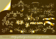 Gold-framed calligraphic design elements Royalty Free Stock Photos