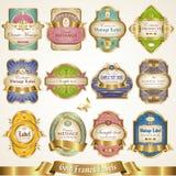 Gold-framed colorful labels - vector set Stock Photo