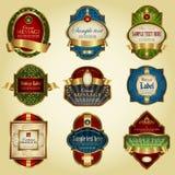 Gold-framed colorful labels - vector set Stock Images