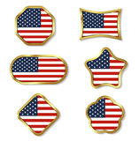 Gold framed Elements for July 4th. Royalty Free Stock Photography
