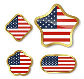 Gold framed Elements for July 4th. Stock Photo